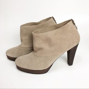 COLE HAAN Taupe Suede Heel Ankle Boots Size 6